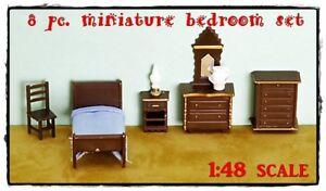 8 pc. MINIATURE DOLLHOUSE BEDROOM SET 1/4 Scale 1:48 TINY SHADOW BOX ...