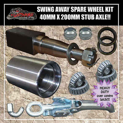 REAR BAR SWING AWAY SPARE WHEEL BRACKET & LOCK 40 X 200MM SQUARE STUB AXLE 4WD