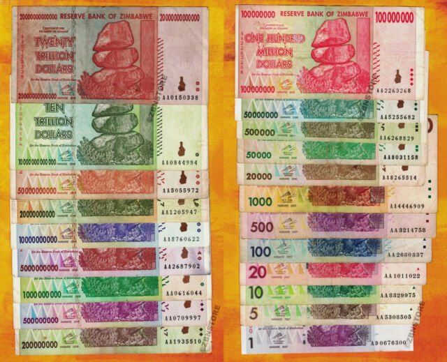 1 To 20 Trillion Zimbabwe Dollars Set Of 21 Banknotes W 10 100 Million