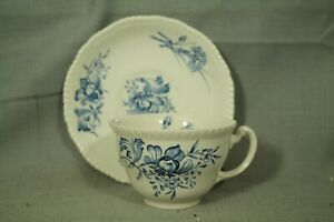Caronia Woods Burslem England Teacup Saucer Set Blue White Flowers Ebay