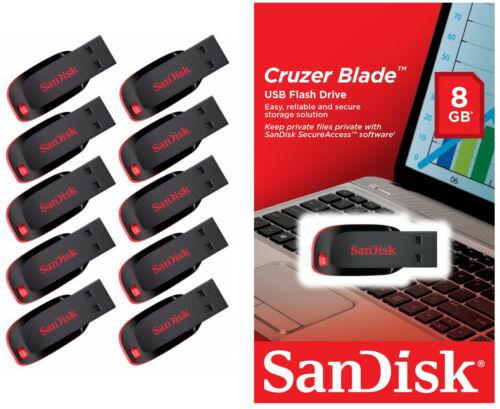 Lot 10 x SanDisk 8GB Cruzer Blade USB Thumb Pen Flash Drive Memory Stick SDCZ50