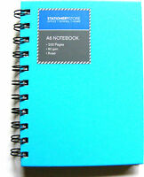 SMALL BLUE A6 SPIRAL BOUND HARDBACK NOTEBOOK NOTE BOOK PAD - RULED 200 PAGES