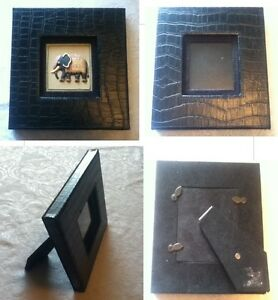 7-034-Replaceable-Elephant-Frame-Black-Faux-Reptile-Square-Leather-Glass-Easel