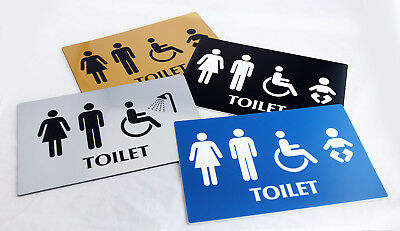 BATHROOM TOILET MALE FEMALE DISABLE DOOR BUILDING SIGN ENGRAVED 145MM X 45MM