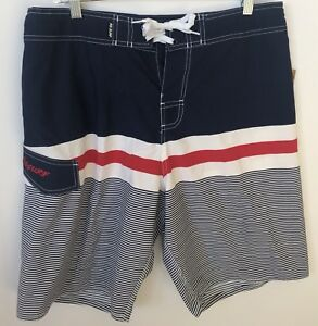 f78d77faf4 RS Surf Mens Board Shorts Swimwear Red White Blue Striped Unlined Sz ...