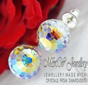 925-Silver-Stud-Earrings-Disco-Ball-10mm-Crystal-AB-Crystals-from-Swarovski