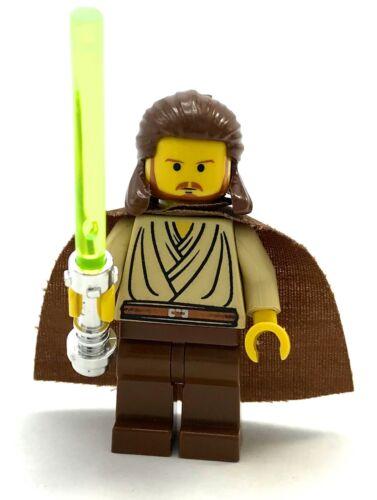 LEGO QUI GON GIN MINIFIGURE W// GREEN LIGHTSABER CAPE JEDI ORIGNAL YELLOW VERSION