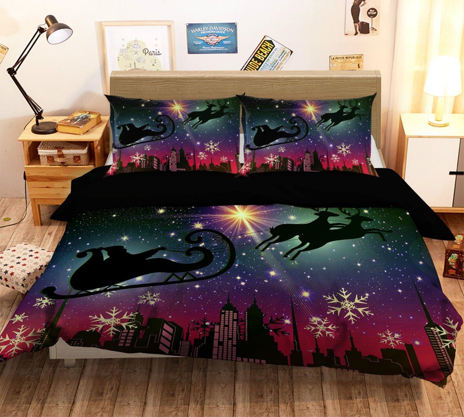3D Christmas Xmas Star 70 Bed Pillowcases Quilt Duvet Cover Set Single King UK