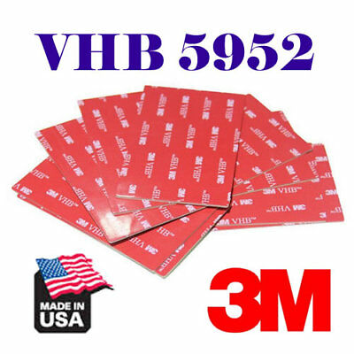 """100mm x 228mm 3M 4/"""" x 9/""""In VHB #5952 Double Sided Foam Adhesive Tape Mounting"""