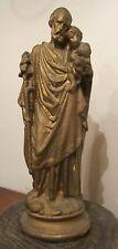 large antique handmade 1800s gold saint Joseph Jesus bisque religious sculpture