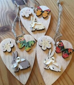 3-X-Bunnies-Hanging-Decorations-Handmade-Real-Wood-Neutral-Hand-Painted