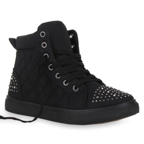 Damen High Top Sneakers Stoffschuhe Sportschuhe Nieten 75253 Schuhe