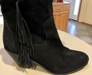 915be7e7a04840 Sam Edelman Louie Ankle Boots Women s 10 Black Suede Fringe Heel ...