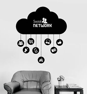 Details About Vinyl Wall Decal Cloud Social Network Computer Technology It Stickers Ig4073