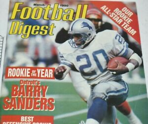 Football-Digest-Magazine-March-1990-Barry-Sanders-Cover-Detroit-Lions-NFL-ROY