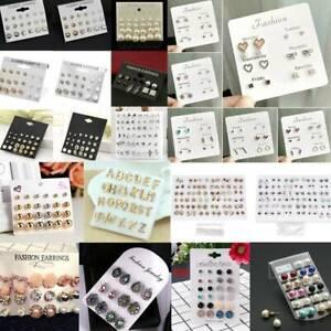 36Pair-Women-Girl-Fashion-Rhinestone-Crystal-Pearl-Ear-Stud-Earrings-Set-Jewelry