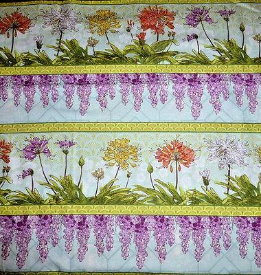 Serenity Garden Cotton Fabric Stripe Floral  Evilia By  Wilmington   Bfab