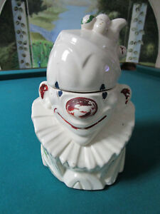 POTTERY-USA-McCoy-Antique-CLOWN-COOKIE-JAR-C1947-12-034
