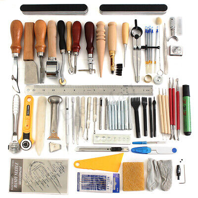 b2b3de13ed73d Details about Leather Craft Punch Tools Kit Stitching Carving Working  Sewing Saddle Groover