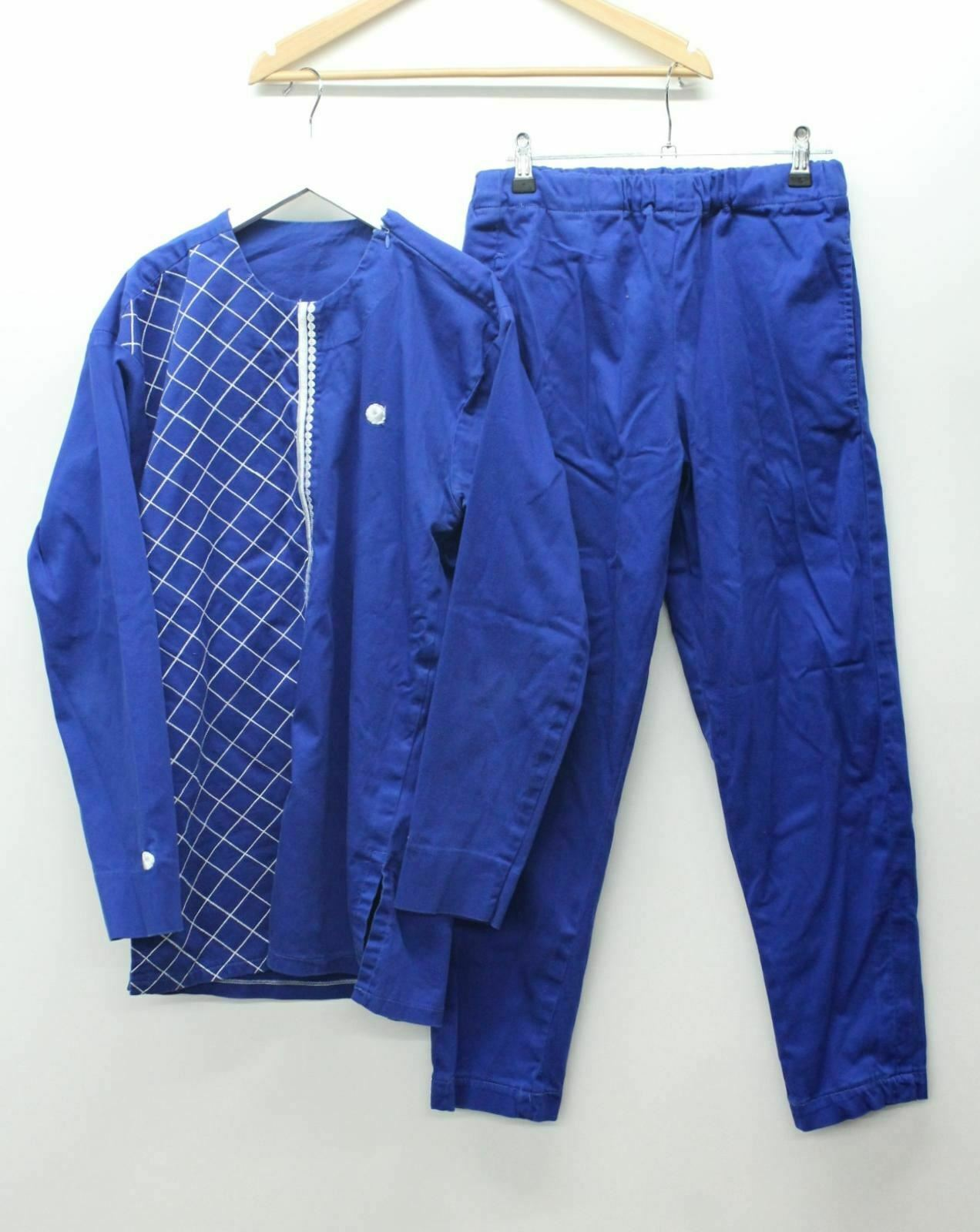 Men's Blue White Long Sleeve Traditional African Dashiki Top & Trousers Size S