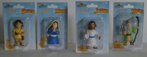 Mary David and Moses Set of 4 Bible Toys PVC Religious Figures of Jesus