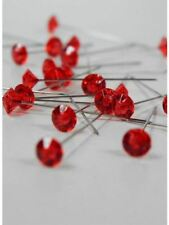 BOUQUET JEWELRY GEM FLORAL WEDDING RHINESTONE CRYSTALS 100 PIN CENTERPIECE RED