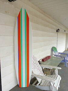 Image is loading 6-Foot-Wood-Hawaiian-white-with-multiple-stripes- & 6 Foot Wood Hawaiian white with multiple stripes Surfboard Wall Art ...