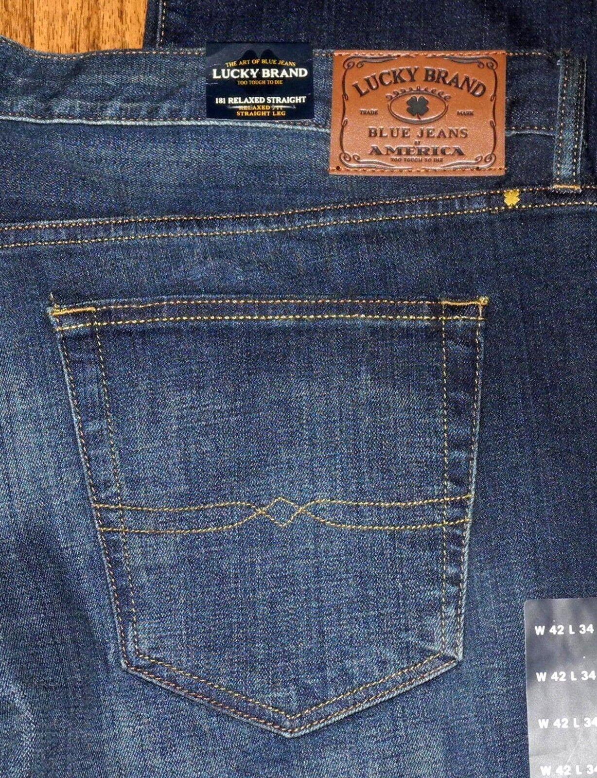 02e2fabe79 Nuovo Lucky Brand 181 Morbido Dritto Uomo Uomo Uomo Jeans Blu Taglie 33x30  33x32 33x34 af77f3