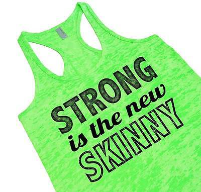 Strong Is The New Skinny Motivational Workout Gym Top Racerback Running Tank