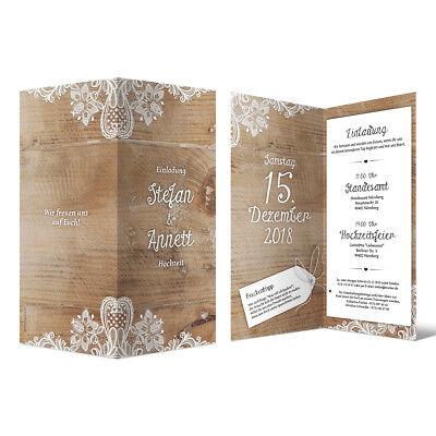 100% QualitäT Hochzeit Einladungskarten Din Lang Klappkarte Individuell Rustikal Weiße Spitze Quell Sommer Durst