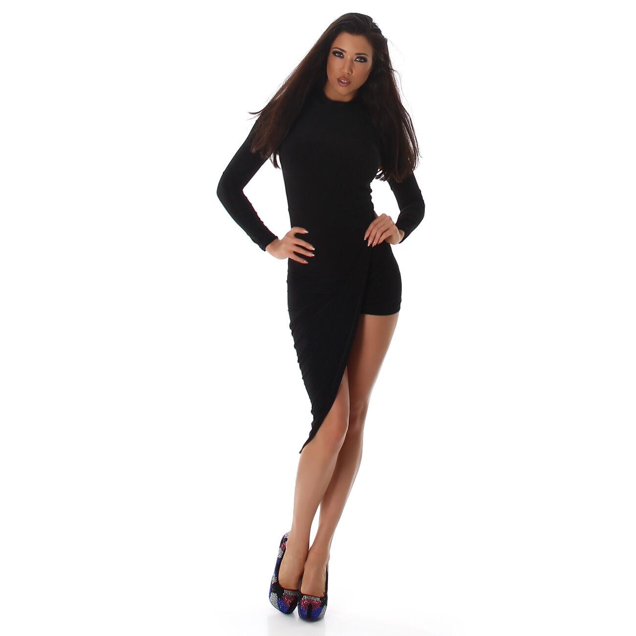 Sexy Party Maxi Abend Kleid maxikleid kurz Asymmetrisch black Größe M 36   38