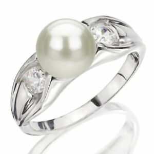 Pearl-Ring-Sterling-Silver-7-7-5mm-White-Freshwater-Cultured-Pearl-High-Luster