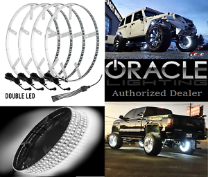 """White Double LED Illuminated Car Truck Wheel Rings For 19"""" Wheels Or Larger"""