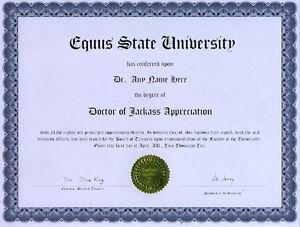 Doctor Jackass Appreciation Novelty Diploma Gag Gift