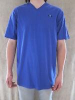 Cavi Mens Short Sleeve Purple V Neck 100% Cotton T Shirt Tee Size Xlarge