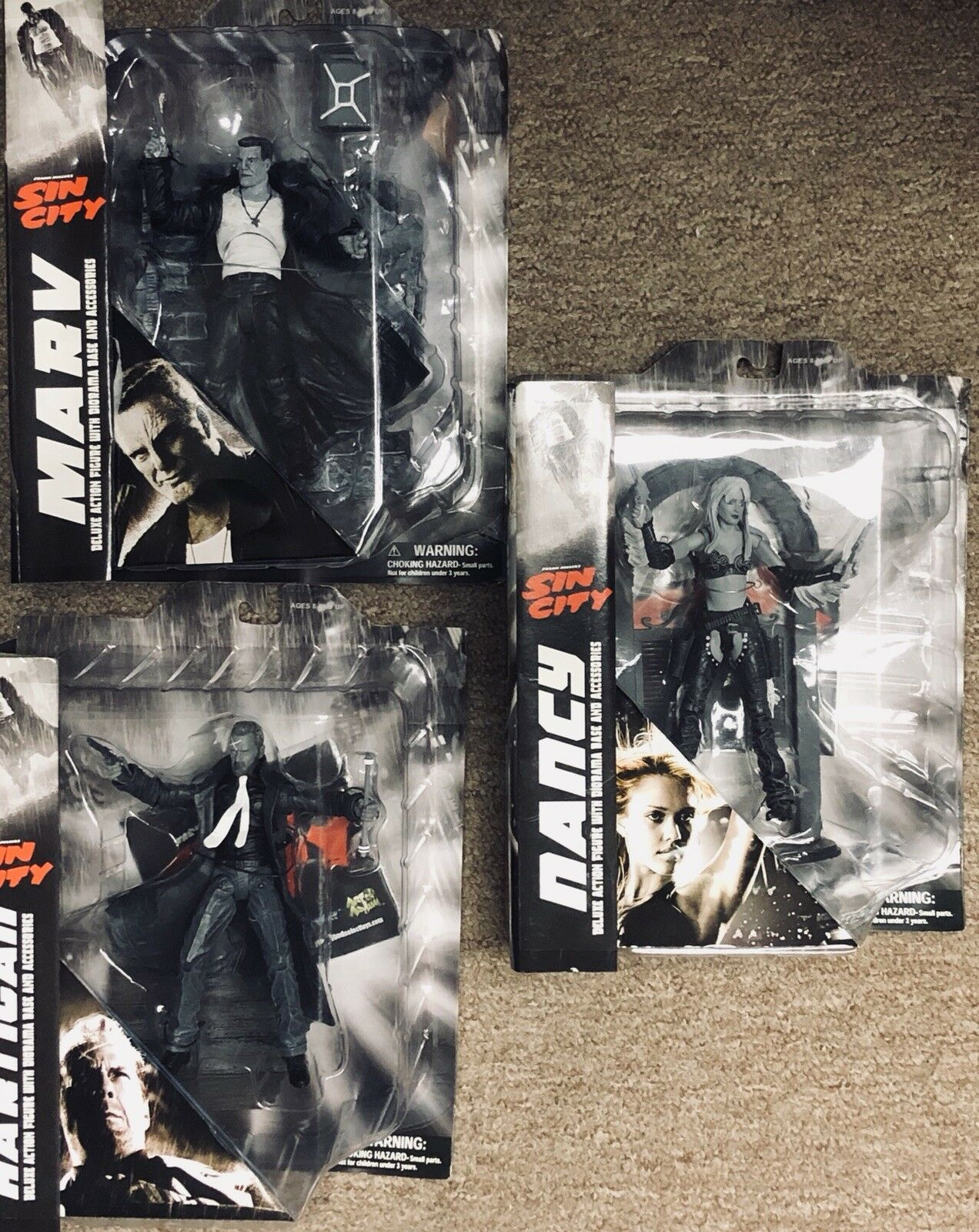 Sin City Nancy, Marv, Hartigan, Deluxe Action Figure, set, lot of (3) Diamond