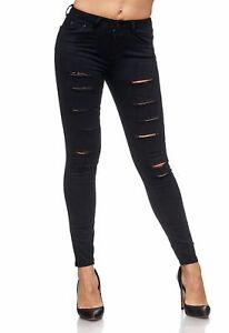 6b5dcf97446b Das Bild wird geladen Damen-Destroyed-Biker-Jeans-Sexy-Hose-Roehrenjeans- Stretch-