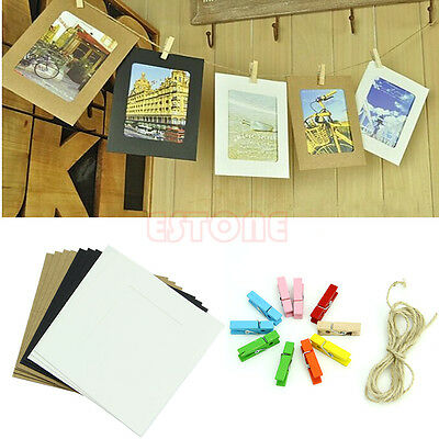 10x 3Inch DIY Flim Hanging Wall Picture Paper Photo Album Kraft Frame+Rope+Clips