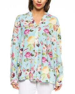 Women-039-s-Blouse-with-Flowers-Print-Light-Blue-Long-Sleeve-Colorful-Size-40-46