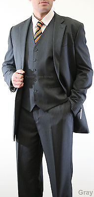 NEW THREE PIECE BUSINESS MENS PIN STRIPE SUIT FORMAL PROM DANCE SPECIAL OCCASION