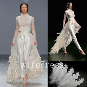 e6ab31cf11 White Ivory Over Skirt Long Evening Dresses Feathers Train For Gowns ...