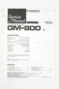 Pioneer GM800 Original Power Amplifier Service ManualWIRING