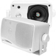 "2 NEW Pyle 3.5"" 200w 3-Way Weather Proof Mini Box Outdoor/Marine Speakers White"
