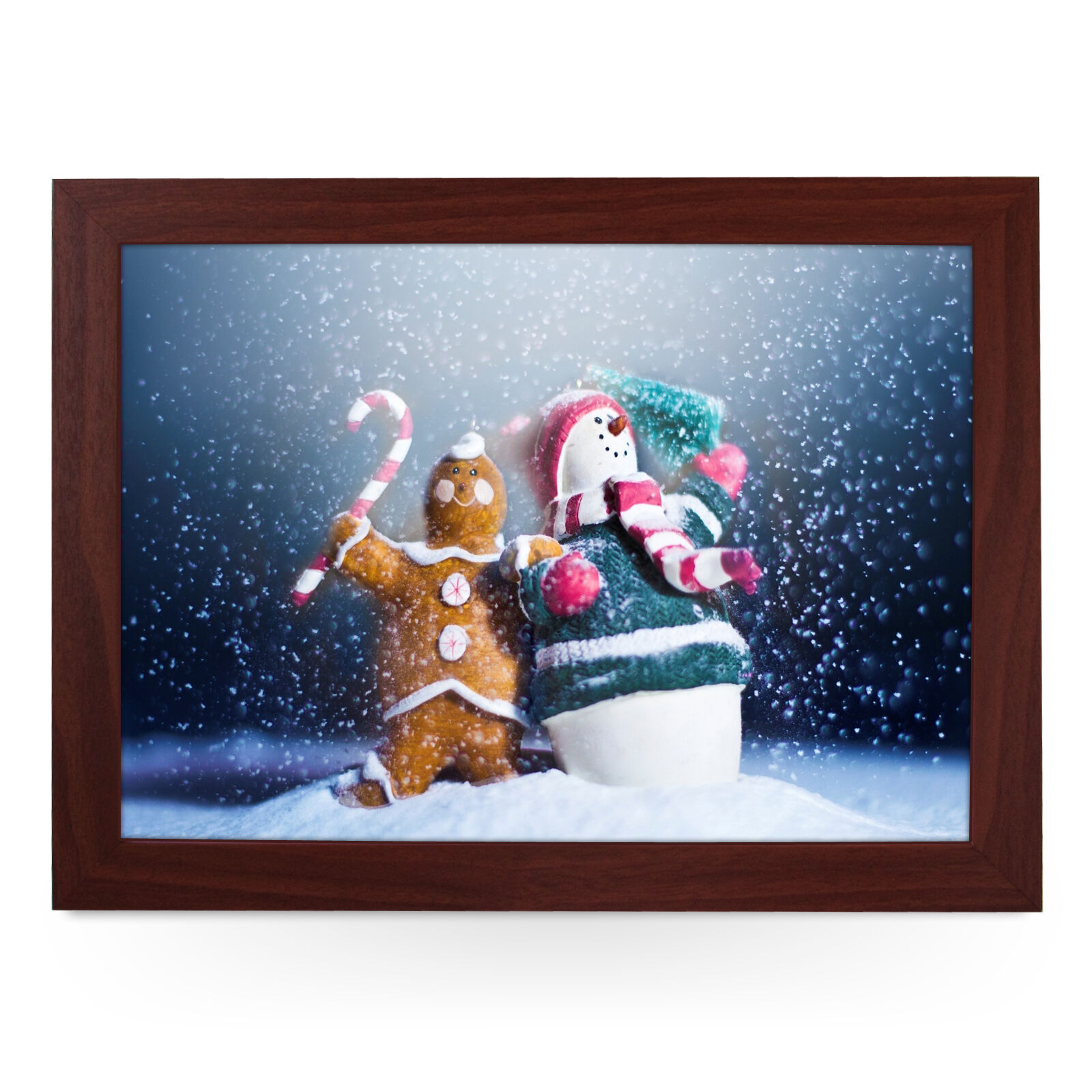 Gingerbread Man & Snowman Christmas - Personalised Padded Lap Tray Laptray L0232
