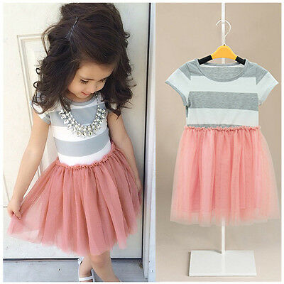 Baby Girls Dress Cute Striped Princess Dresses Kids Toddler T-Shirt Tutu Dress