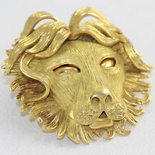 """18k Yellow Gold Lion Head Pin/Pendant Stamped """"R.L."""""""