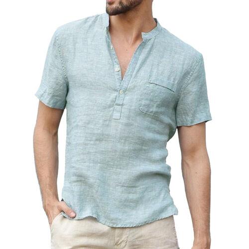 Uomini Casual T-shirt con scollo a V manica corta lino shirt Cool Tops allentato Shirt Estate