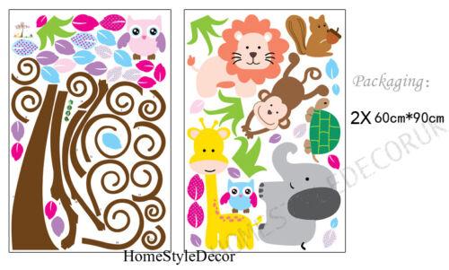Jungle Safari Animal Scroll Tree Wall Sticker Art Decal Children Kids Room Decor