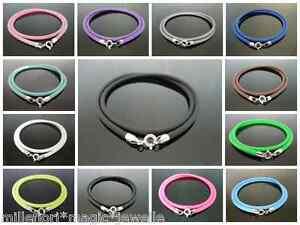 3mm-Goma-Silicona-cordon-amp-Plata-de-ley-925-Collar-45-7cm-46cm-color-a-elegir