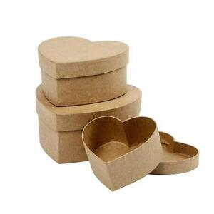 Set-3-Love-Heart-Shaped-Box-Craft-Storage-Paper-Mache-Create-Decorate-Hand-Made